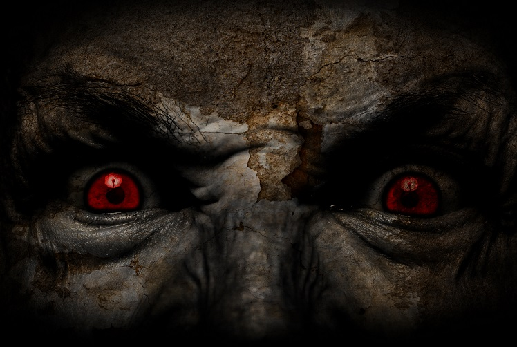 Scary women with red eyes